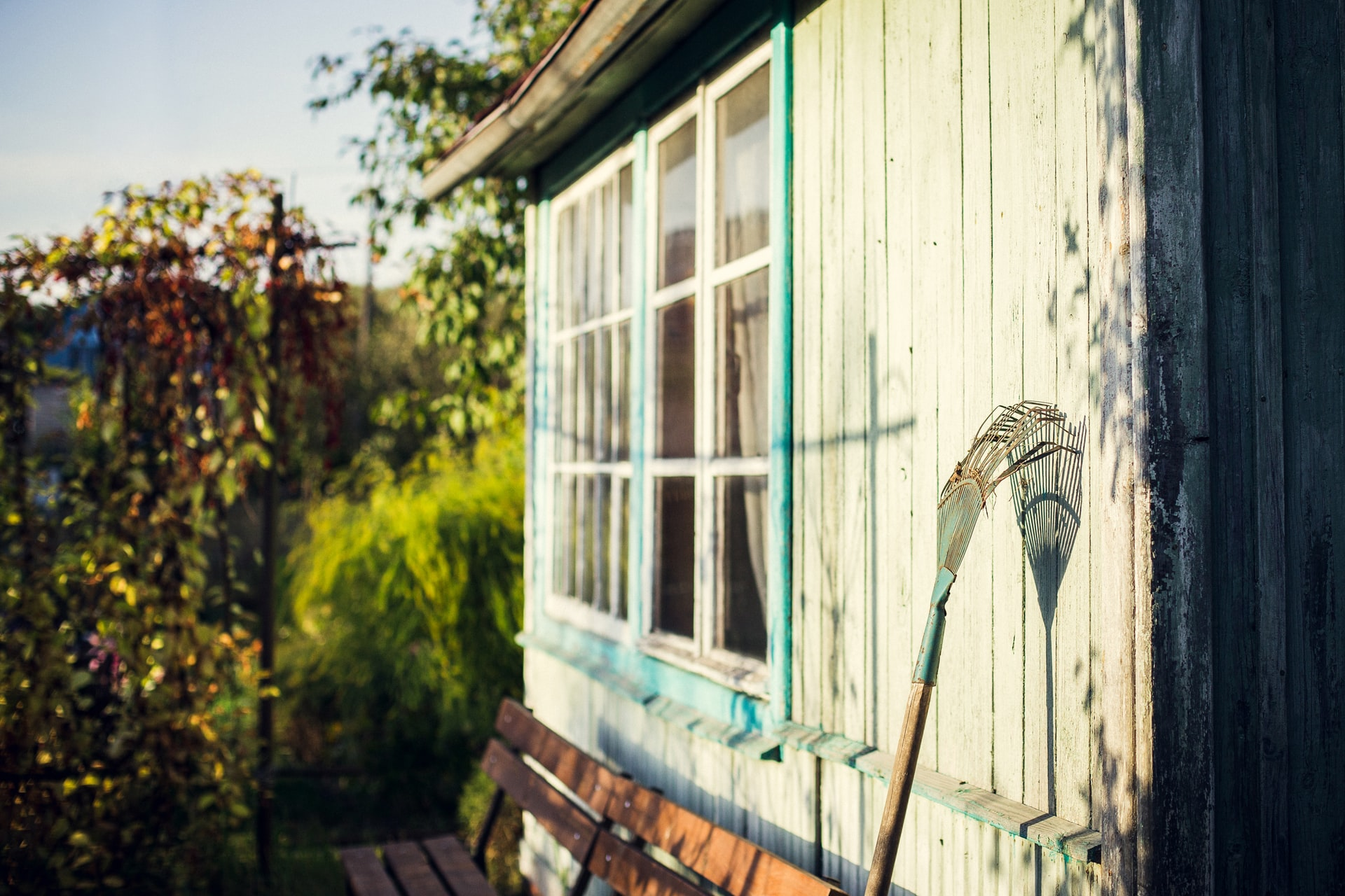 Garden shed window in the sunlight