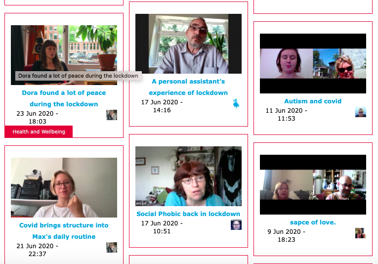 Six stills of people sharing their Covid-19 stories in videos