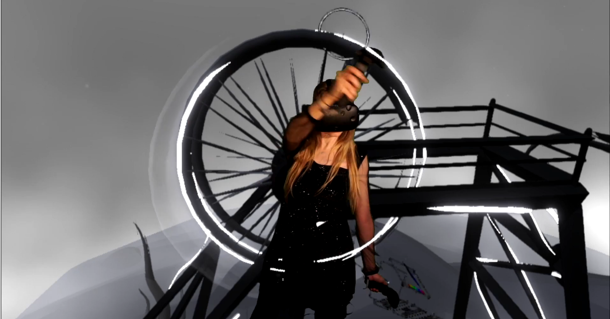 A virtual reality artist creates an industrial-inspired drawing.